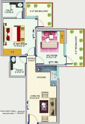 Auric Happy Homes (2BHK+2T (493 sq ft) Apartment 493 sq ft)