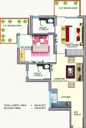 Auric Happy Homes (2BHK+2T (483 sq ft) Apartment 483 sq ft)