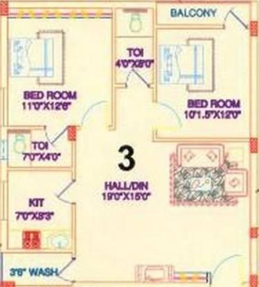 Sai Pearls Residency (2BHK+2T (1,035 sq ft) Apartment 1035 sq ft)