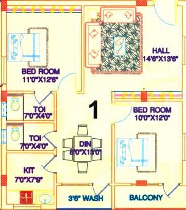 Sai Pearls Residency (2BHK+2T (1,056 sq ft) Apartment 1056 sq ft)