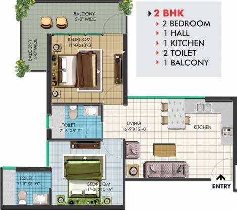 Op Floridaa (2BHK+2T (504 sq ft) Apartment 504 sq ft)