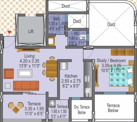 DSK Kunjaban (1BHK+1T (693 sq ft) Apartment 693 sq ft)