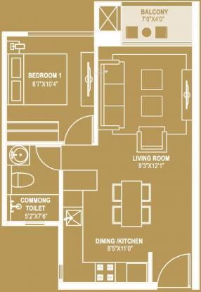 Hiranandani Queensgate (1BHK+1T (595 sq ft) Apartment 595 sq ft)