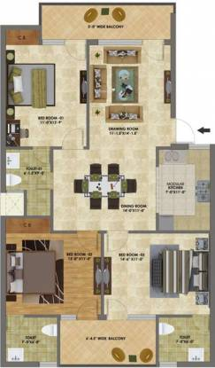 Heights (3BHK+3T (1,400 sq ft) Apartment 1400 sq ft)