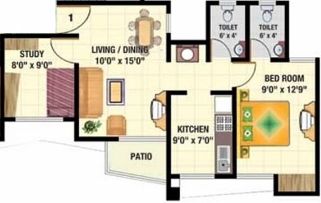 Sadguru Complex (1BHK+2T (720 sq ft)   Study Room Apartment 720 sq ft)