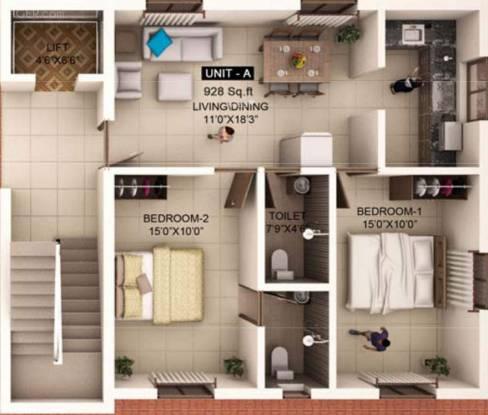 Mahalakshmi Chandrasekar Avenue (2BHK+2T (928 sq ft) Apartment 928 sq ft)