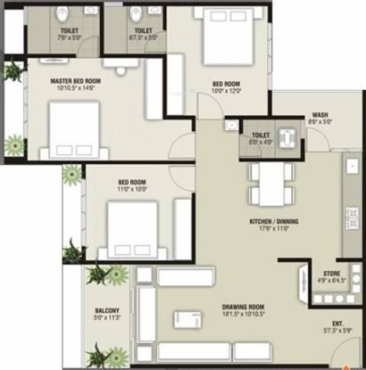 SS Sai Simran Residency (3BHK+3T (1,935 sq ft) Apartment 1935 sq ft)