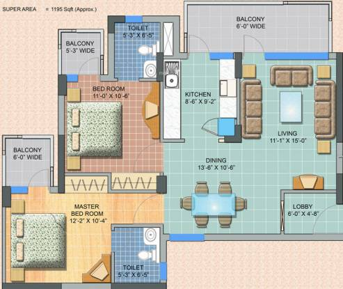 Swatantra Anushree Apartments (2BHK+2T (1,195 sq ft) Apartment 1195 sq ft)