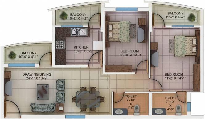 Kores Garden Enclave (2BHK+2T (1,245 sq ft) Apartment 1245 sq ft)