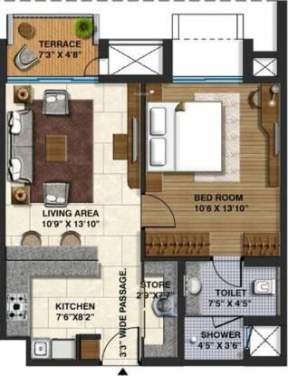 Lodha Belmondo (1BHK+1T (702 sq ft) Apartment 702 sq ft)