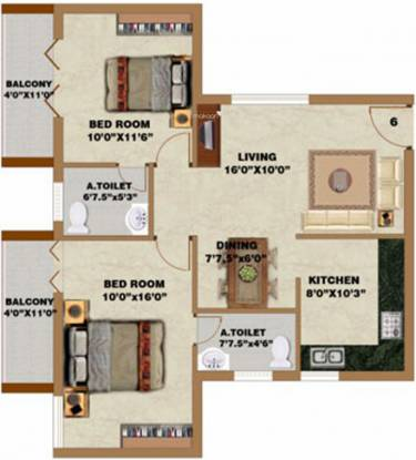 Sree Daksha Yahvi (2BHK+2T (1,130 sq ft) Apartment 1130 sq ft)