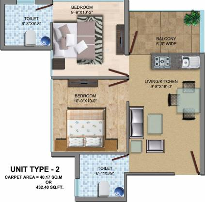 SRS Palm Home (2BHK+2T (497 sq ft) Apartment 497 sq ft)