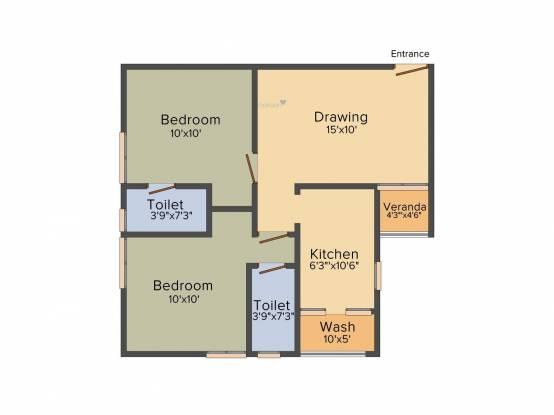 Bakeri City (2BHK+1T (990 sq ft) Apartment 990 sq ft)
