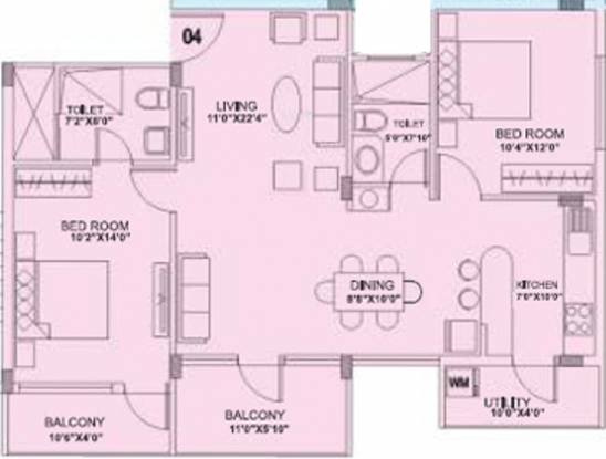 IN Sovereign (2BHK+2T (1,200 sq ft) Apartment 1200 sq ft)