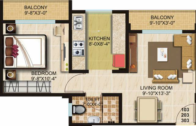 Kiron Magnolia (1BHK+1T (575 sq ft) Apartment 575 sq ft)