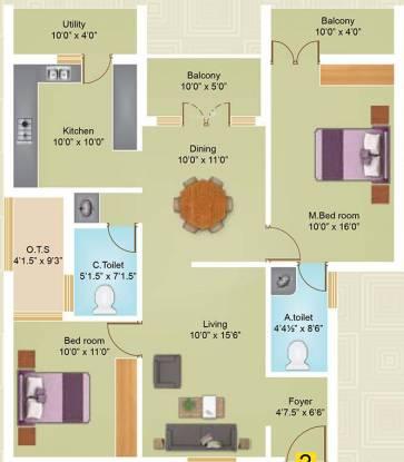 Sree Daksha Saharsh (2BHK+2T (1,248 sq ft) Apartment 1248 sq ft)