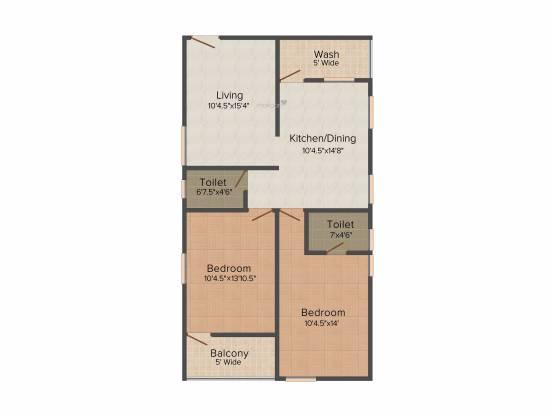 Krupa Lake Ridge (2BHK+2T (1,110 sq ft) Apartment 1110 sq ft)