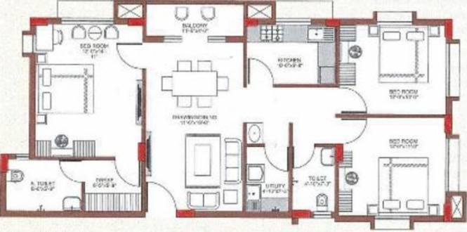 Dream Sai Ashraya (3BHK+3T (1,389 sq ft) Apartment 1389 sq ft)