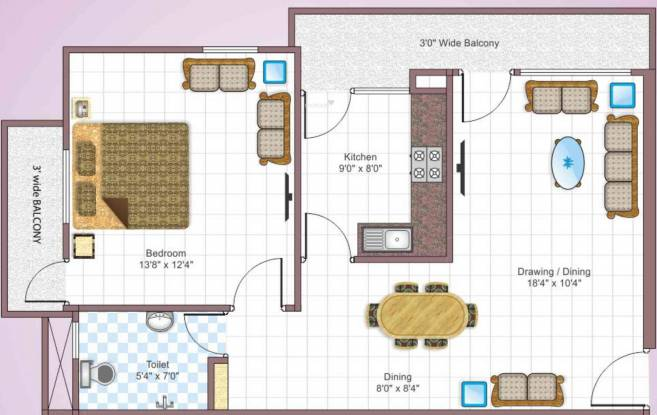 Metro Builders and Developers Gulmohar (1BHK+1T (695 sq ft) Apartment 695 sq ft)