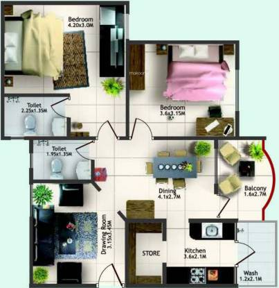 Sterling Pacific Blue (2BHK+2T (800 sq ft) Apartment 800 sq ft)