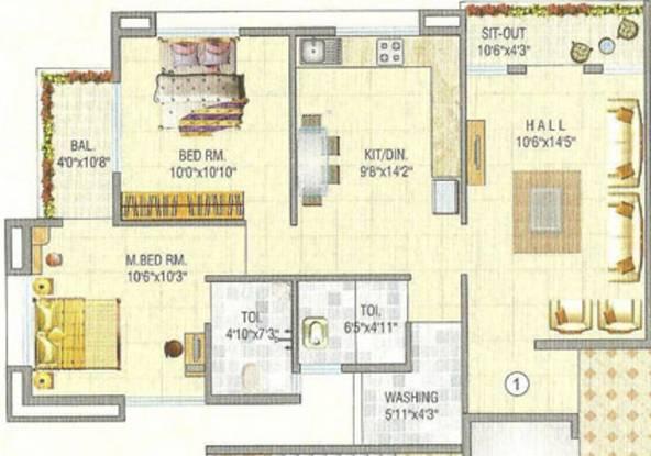 Khabiya Heights (2BHK+2T (1,114 sq ft) Apartment 1114 sq ft)