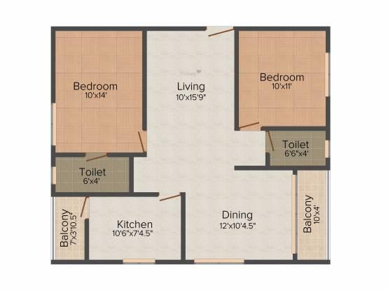Sahiti Siri Signature (2BHK+2T (1,075 sq ft) Apartment 1075 sq ft)