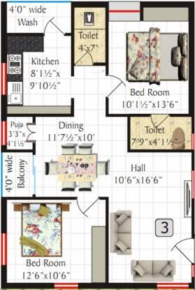 SV Meadows (2BHK+2T (1,120 sq ft)   Pooja Room Apartment 1120 sq ft)