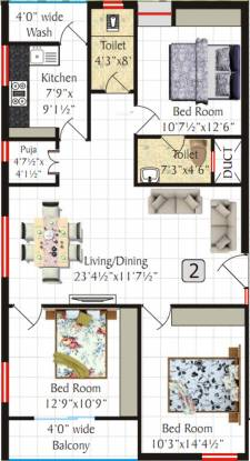 SV Meadows (3BHK+2T (1,400 sq ft)   Pooja Room Apartment 1400 sq ft)