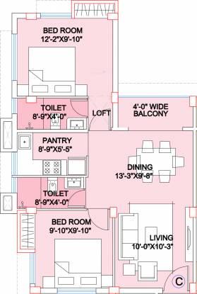 Adya Exotica Villa (2BHK+2T (975 sq ft) Apartment 975 sq ft)