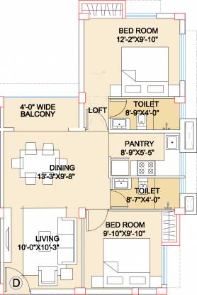 Adya Exotica Villa (2BHK+2T (978 sq ft) Apartment 978 sq ft)