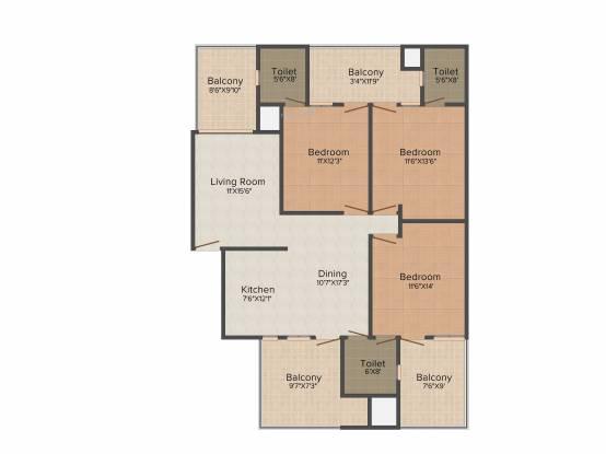 Aditya Palm Court (3BHK+3T (1,698 sq ft) Apartment 1698 sq ft)