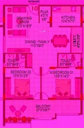 Lorven Altius (2BHK+2T (1,320 sq ft) + Pooja Room Apartment 1320 sq ft)