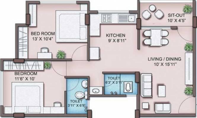 Maitreya Sankul (2BHK+2T (938 sq ft) Apartment 938 sq ft)