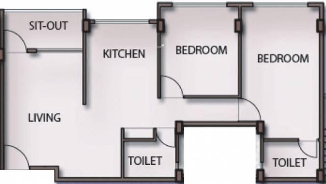 Maitreya Sankul (2BHK+2T (1,057 sq ft) Apartment 1057 sq ft)