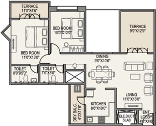 Paranjape Yuthika (2BHK+2T (1,186 sq ft) Apartment 1186 sq ft)