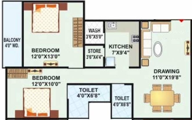 Landmark Radhe Regency (2BHK+2T (883 sq ft) Apartment 883 sq ft)