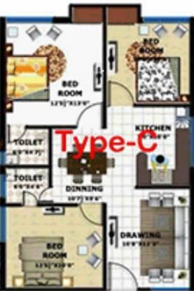 G C Signature (3BHK+2T (1,195 sq ft) Apartment 1195 sq ft)