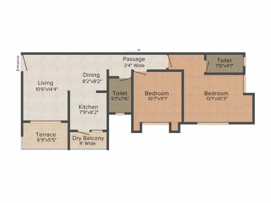 Nagpal Palm Leaves (2BHK+2T (1,000 sq ft) Apartment 1000 sq ft)