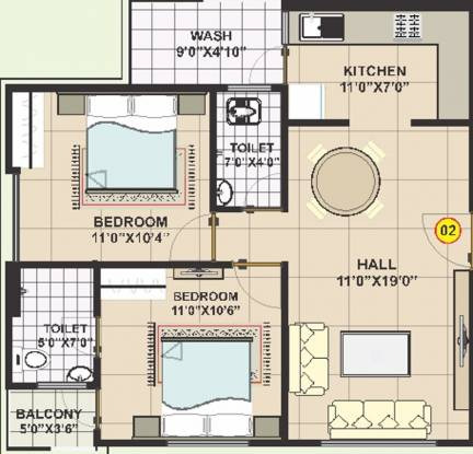 Shubham Residency (2BHK+2T (999 sq ft) Apartment 999 sq ft)
