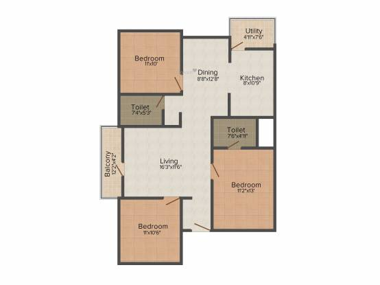 Soundarya Kamakshi (3BHK+3T (1,315 sq ft) Apartment 1315 sq ft)