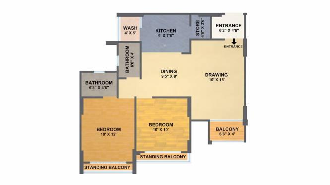 A Shridhar Kaveri Sangam (2BHK+2T (1,280 sq ft) + Study Room Apartment 1280 sq ft)