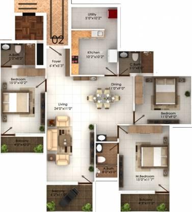 Marian Park (3BHK+3T (1,807 sq ft) Apartment 1807 sq ft)