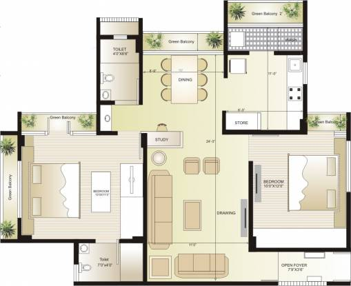 Swagat Flamingo (2BHK+2T (1,233 sq ft) Apartment 1233 sq ft)
