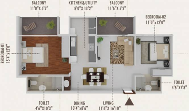Karuna Unnathi (2BHK+2T (1,260 sq ft) Apartment 1260 sq ft)