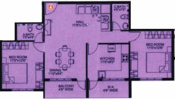 Karuna Serene (2BHK+2T (1,105 sq ft) Apartment 1105 sq ft)