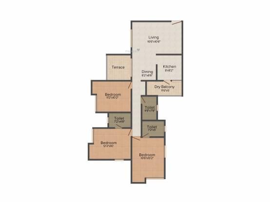 Gulmohar Primrose (3BHK+3T (1,359 sq ft) Apartment 1359 sq ft)