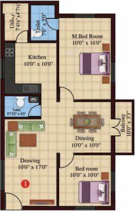 RR Veeshal (2BHK+2T (1,111 sq ft) Apartment 1111 sq ft)