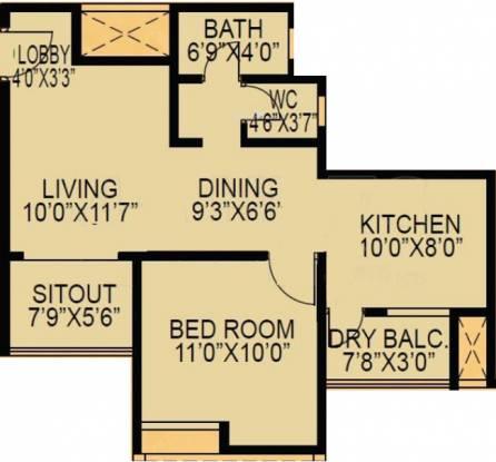 F5 Epic (1BHK+1T (724 sq ft) Apartment 724 sq ft)