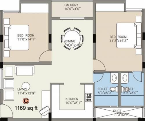 Value Greenwoods (2BHK+2T (1,169 sq ft) Apartment 1169 sq ft)