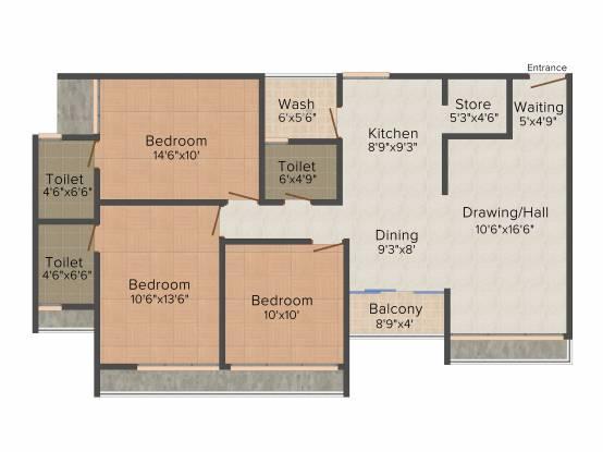 Ratnam Garnet (3BHK+3T (1,728 sq ft) Apartment 1728 sq ft)